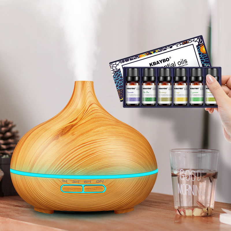 Ultrasonic Air HumidifierAroma Essential Oil 300ml Diffuser With Wood Grain 7 Color Changing LED Lights For Office Home
