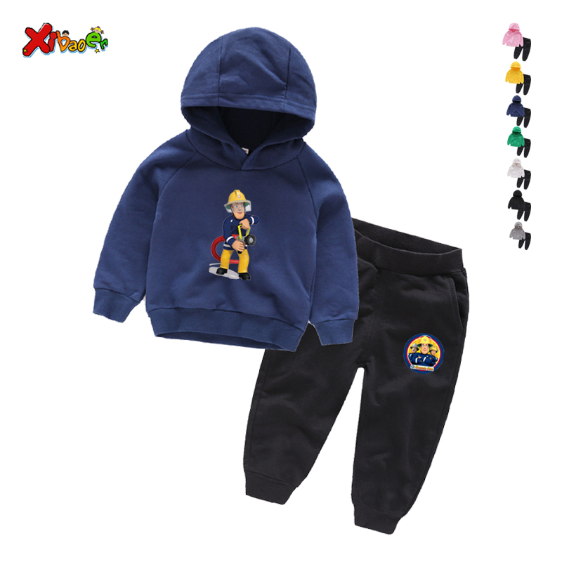 Children Winter Clothes Baby Boys Cartoon Clothing Sets Fireman Sam Pattern Print Cartoons Sweatsets for Boys Girls Kids Clothes 5