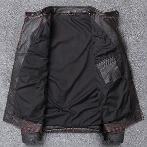 Image 4 - YR! gratis verzending. groothandel. straat Hot motor biker echt lederen jas. schedel afdrukken koeienhuid jas. vintage slanke jassen