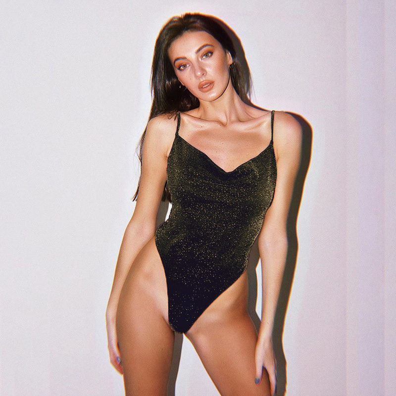 Women Fashion Solid V Neck Sleeveless Backless One-piece Swimsuit WST 01