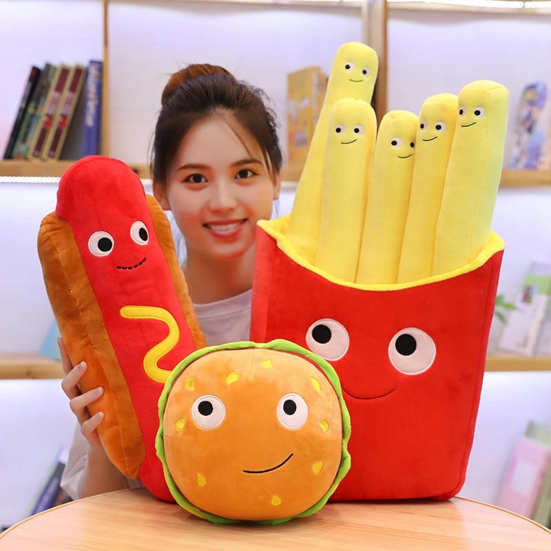 Hot Simulation Fast Food Pillow Milky Tea Chip Pizza Ice Cream Plush Toy Cushion Kawaii Soft Stuffed Super Quality Child Gift