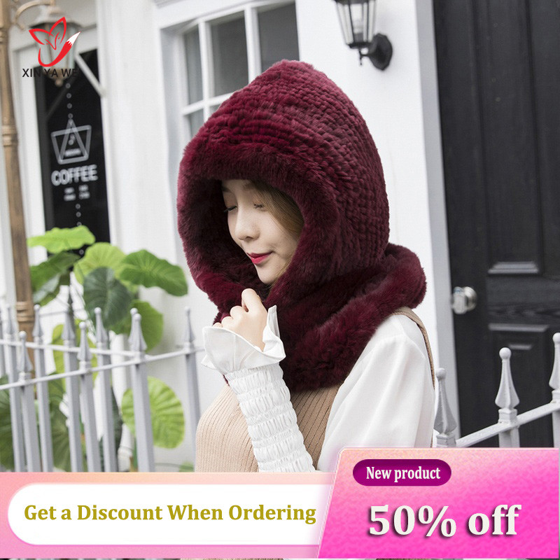 Women's Hat, New Style, Knitted Genuine Rabbit Fur, Hooded Hat, Scarf, Women Winter Hat, Hat, Warmth, Genuine Fur, Neck Hat, Scarf