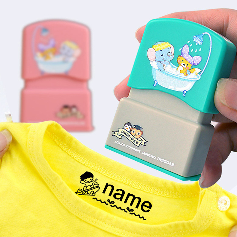 QWZ Customized Name Stamp Engraved Waterproof Non-fading Kindergarten Cartoon Clothing Name Seal for Child baby Christmas Gift(China)