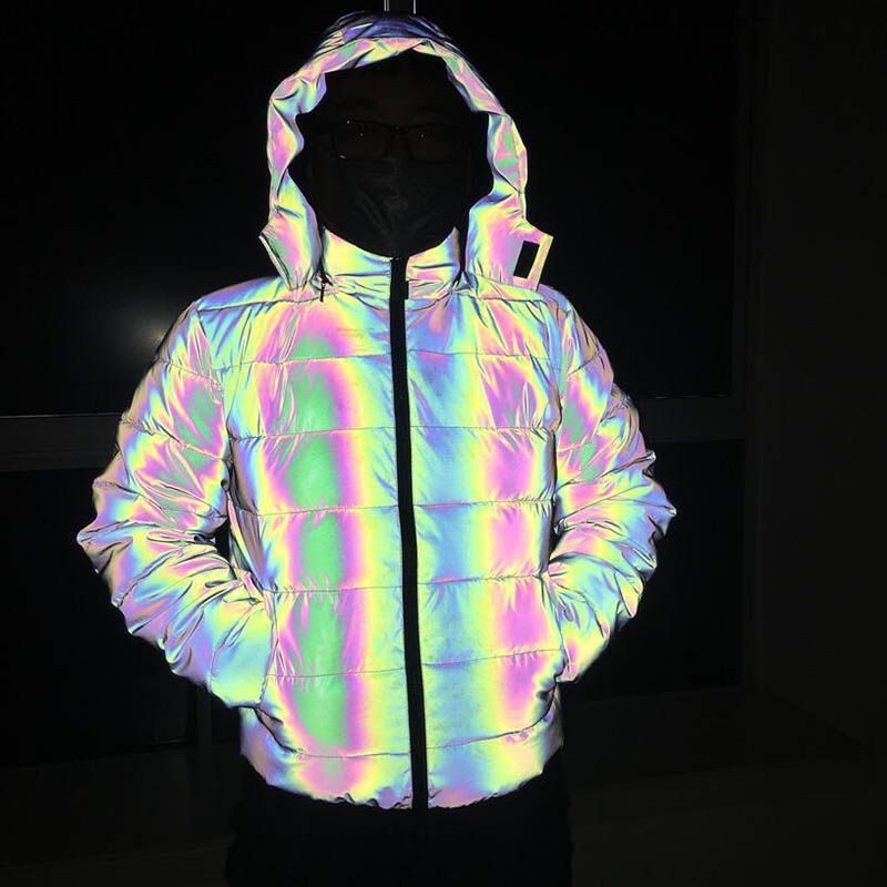 KIOVNO Jackets Male Coats Clothing Light Reflective Men's Winter Thicken Warm title=