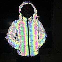 KIOVNO Winter Men's Night Safe Snow Jackets Coats Thicken Warm Light Reflective Overcoat Jackets Male Clothing
