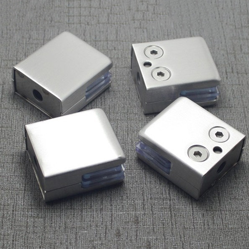 4Pcs Medium Stainless Steel Square Clamp Holder Bracket Clip For Glass Fixed Shelf Handrails Silver Fish Mouth Clip Shelf Lamina