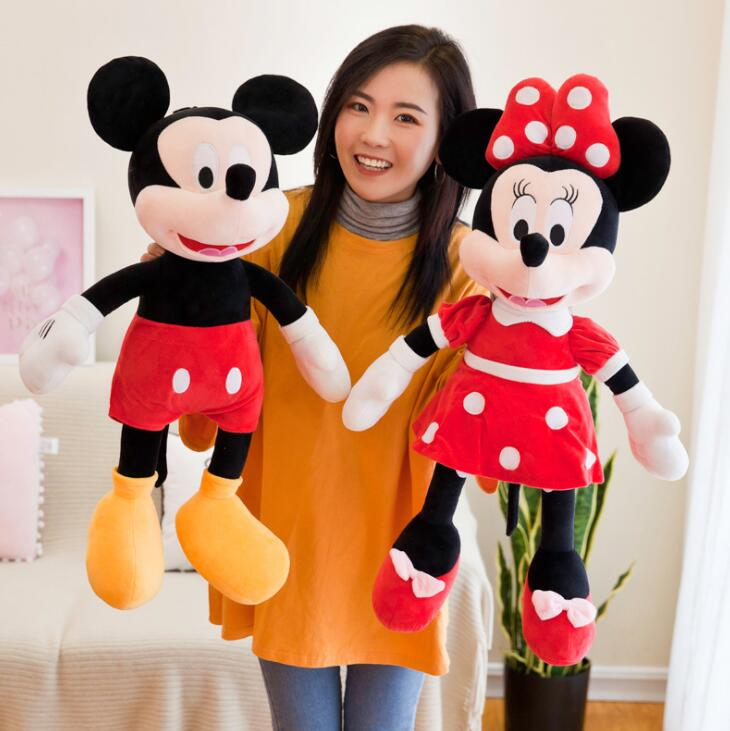 1 Pcs 20cm Hot Sale Lovely Mickey Mouse& Minnie Mouse Stuffed Soft Plush Toys High Quality Gifts Classic Toy For Girls