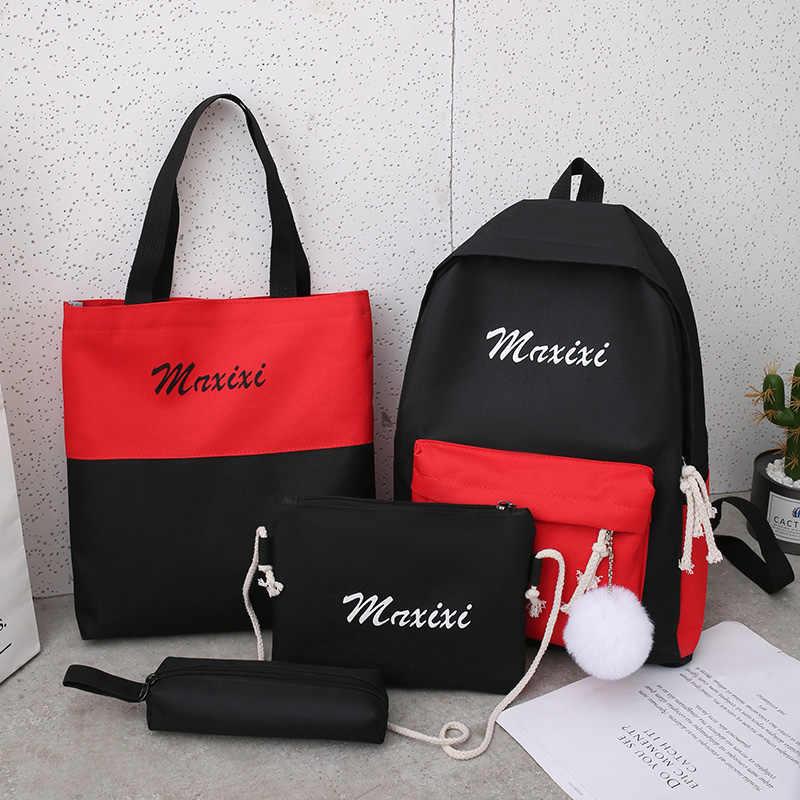 4 sztuk/zestaw kobiety plecaki szkolne tornister dla nastolatków dziewczyny Student torba na książki chłopcy Bolsas Mochilas Sac A