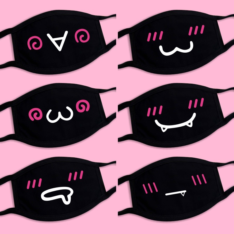 1 Pcs Dust-Proof Mouth Face Mask Anime Cartoon Lucky Women Men Face Mouth Masks Creative Funny Masks Unisex High Quality
