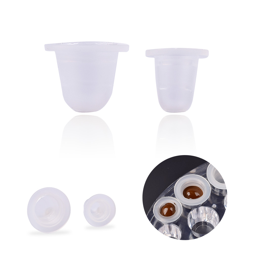 100Pcs S/L Disposable Microblading Tattoo Ink Cups Soft Silicone Eyebrow Makeup Pigment Holder Container Caps Tattoo Accessories