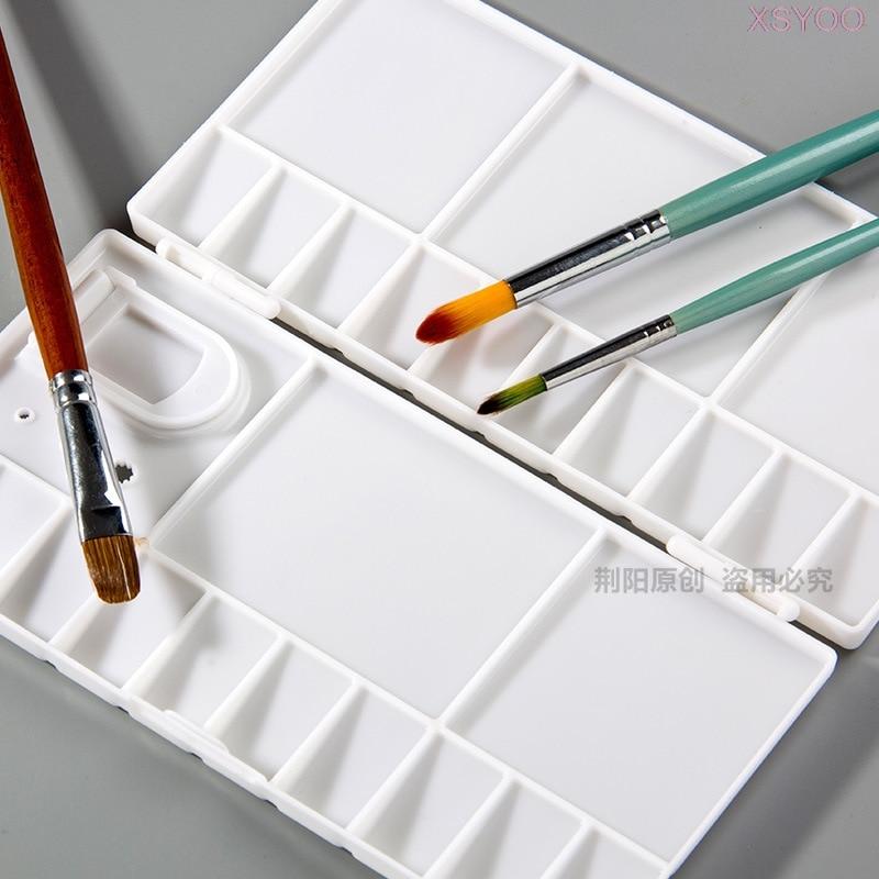 YLOO 25 Grids Art Plastic Palette Empty Watercolor Paints Box Flip cover Palette For Art Gouache Acrylic Painting Art Supplies