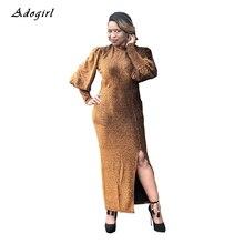 Vintage Lantern Sleeve Womens Dress Elegant Bodycon Turtleneck Slit Long Sexy Autumn Winter Evening Party Vestidos