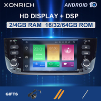 DSP 4GB 64GB Autoradio 1 Din Android 10 Car DVD Multimedia Player For Fiat/Linea/Punto evo 2012 2015 GPS Navigation Stereo audio