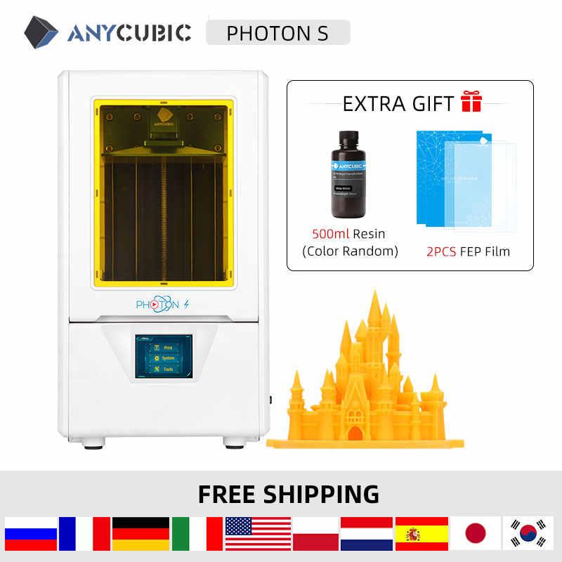 Anycubic fotón S 3d impresora SLA rebanada pantalla 2K 405nm luz UV de escritorio impresora 3D Kit de impresora UV impresora 3d