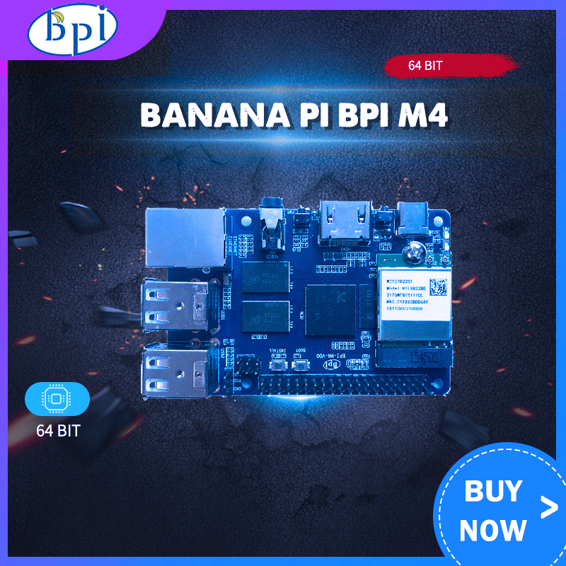 Banana Pi BPI M4 Realtek RTD1395 ARM 64 Bit Board TF Card Support 8G EMMC WiFi 802.11b/g/n