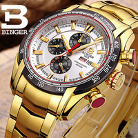 BINGER Brand Luxury Sapphire Men Watches Gold Business Steel Clock Quartz Waterproof 50m Sport Male Watch erkek kol saati