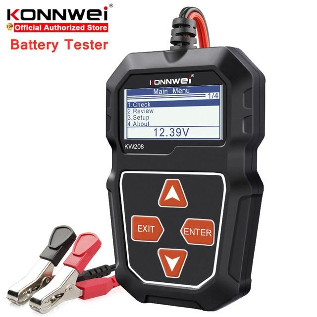 Konnwei kw208 12v testador de bateria carro digital automotivo diagnóstico testador analisador veículo cranking ferramentas carregamento scanner