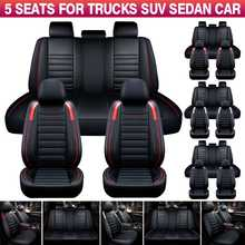 11PCS 5 Seats Car Seat Covers Automobiles Seat Covers Protector Deluxe PU Leather Front+Rear Full Set SUV Truck Cushion