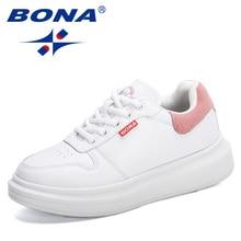BONA 2020 New Arrival Popular Platform Vulcanized Shoes Women Walking Sneakers Casual Shoes Ladies Tenis Feminino Zapatos Muje