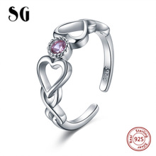 SG 925 Sterling Silver love always Open Rings with 2 Heart and Purple zircon ring fashion wedding jewelry for women gifts leige jewelry heart cut amethyst rings unique wedding ring february birthstone ring purple gems ring 925 sterling silver gifts