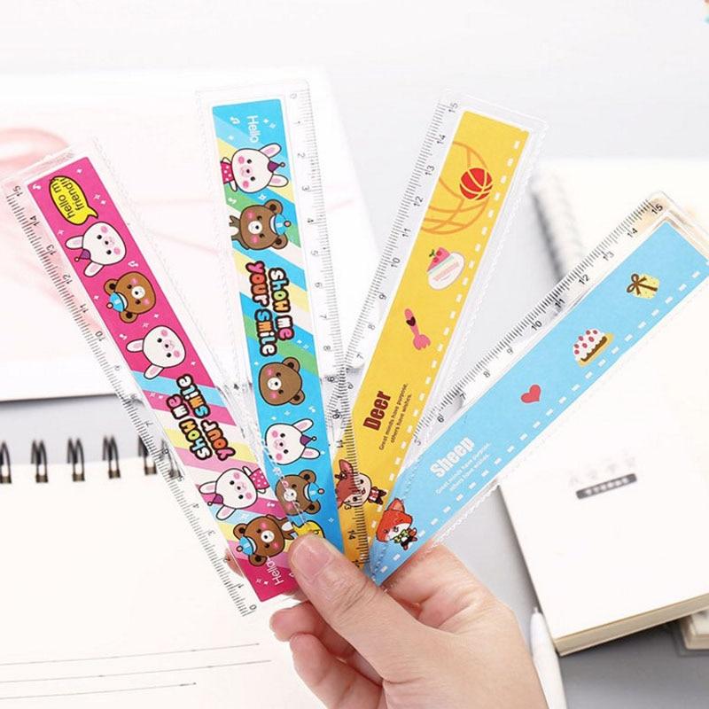 10 Pcs Cute Cartoon Animal Students15cm Plastic Ruler Multifunction Line Drawing Tools Creative Gifts School Supplies