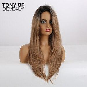 Image 5 - Lange Synthetische Wellenförmige Ombre Hellbraun Mittleren Teil Natürliche Haar Perücken Für Frauen Afrikanische Amerika Wärme Beständig Faser Perücken