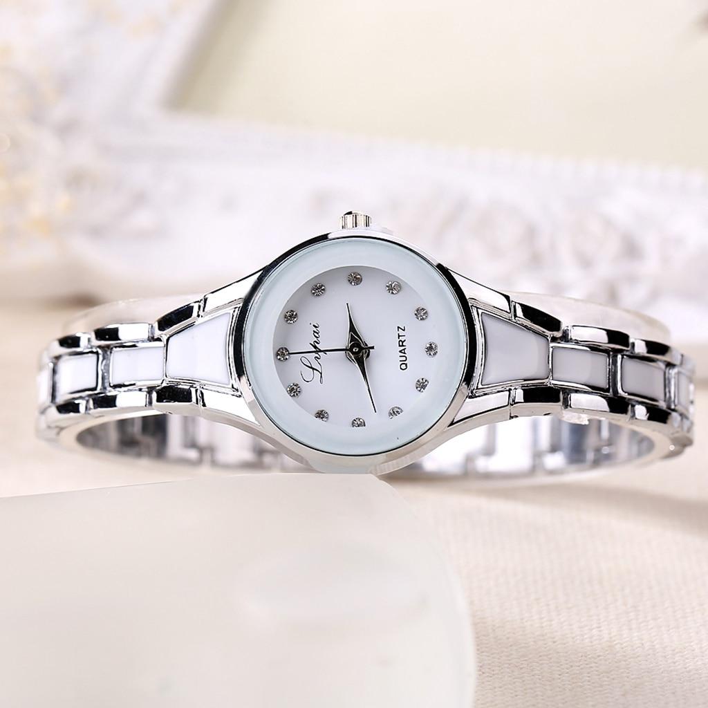 Women Watches Luxury Rose Gold Silver Bracelet Wristwatch Ladies Alloy Simple Casual Quartz -
