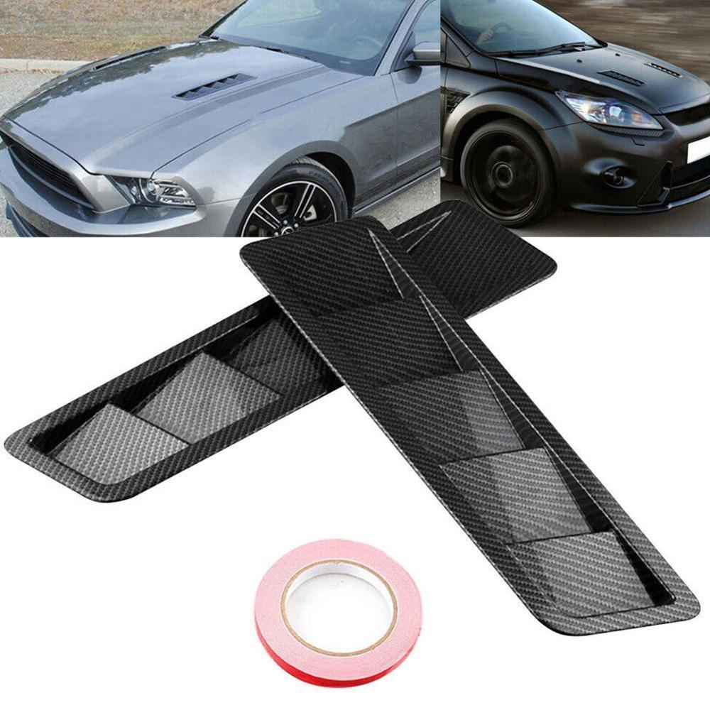 2pcs Universal Carbon Fiber Style Hood Vents For Ford For Mustang Air Flow Intake Hood Self-Adhesive Louver Window Cooling Panel