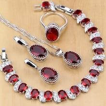 Natural 925 jóias de prata vermelho birthstone charme conjuntos de jóias femininas brincos/pingente/colar/anel/pulseiras t055