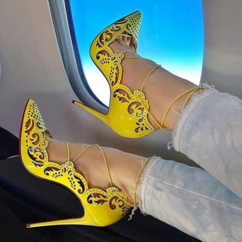 Sexy Yellow Hollow High Heels Shoes Lace-up Stiletto Heels Patent Leather Shallow Dress Shoes Pointed Toe Cut-out Strappy Pumps new fashion patent leather high heel shoes woman sexy pointed toe stiletto heels gold metallic decoration dress heels