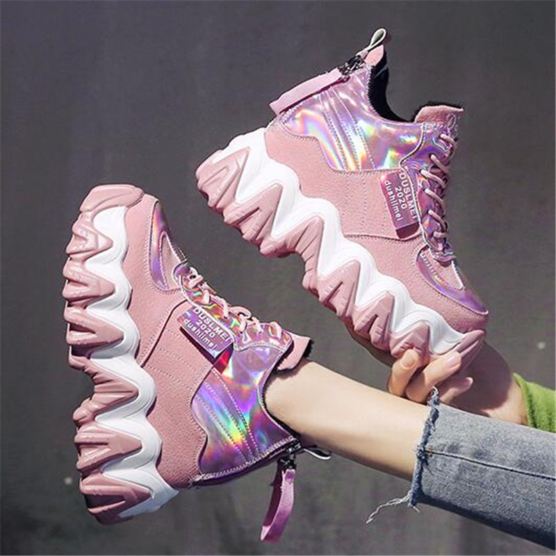 Women Chunky Sneakers 2020 Fashion Platform Sneakers Ladies Brand Wedges Casual Shoes For Woman Leather Sports Dad Shoes 7cm