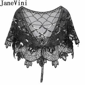 Image 4 - JaneVini Elegant แชมเปญทอง Bolero เลื่อมยักไหล่เสื้อสเวตเตอร์ถักผู้หญิงงานแต่งงานเสื้อ Cape Beaded Bridal Wrap Etole Femme Mariage