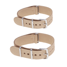 2Pcs Watch Band Nylon Material Strap And High-End Buckle Khaki Width 18/20mm