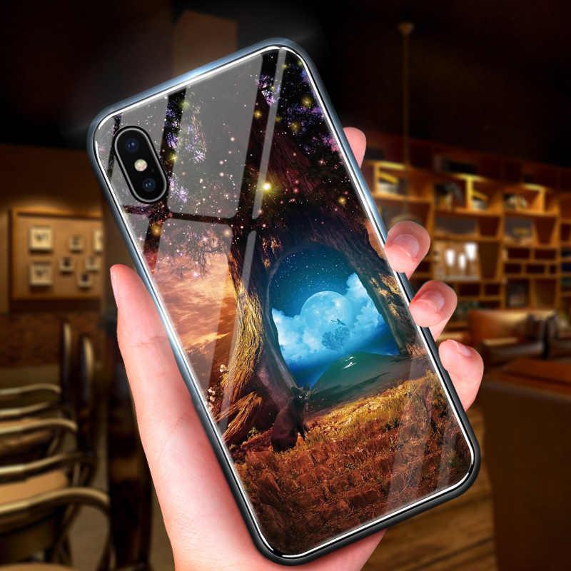 Для Xiaomi Redmi Примечание 5A Prime чехол Y1 S2 Красивая Аврора космический магический градиентный Радужный чехол глянцевый чехол из закаленного стекла