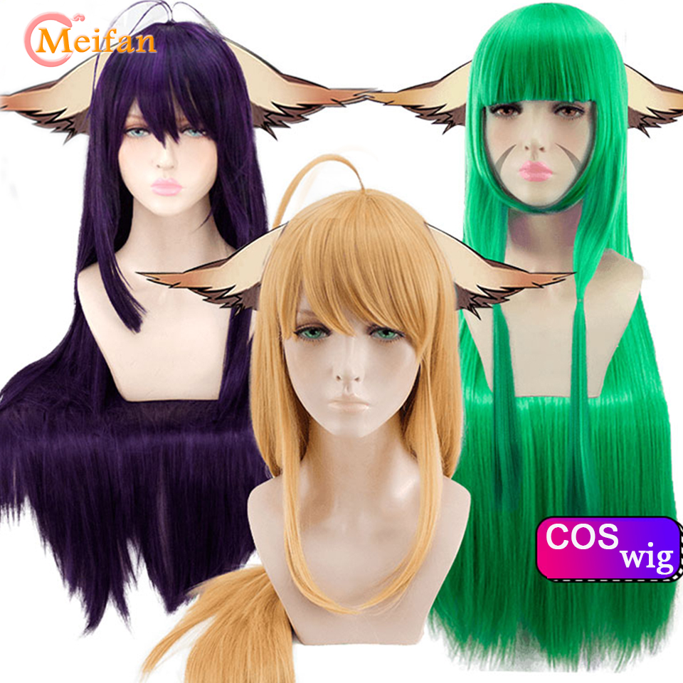 MEIFAN Synthetic Cosplay Anime Wig Long Straight Hair with Bangs Golden Green Purple 100cm Cosplay Party Wig for Women