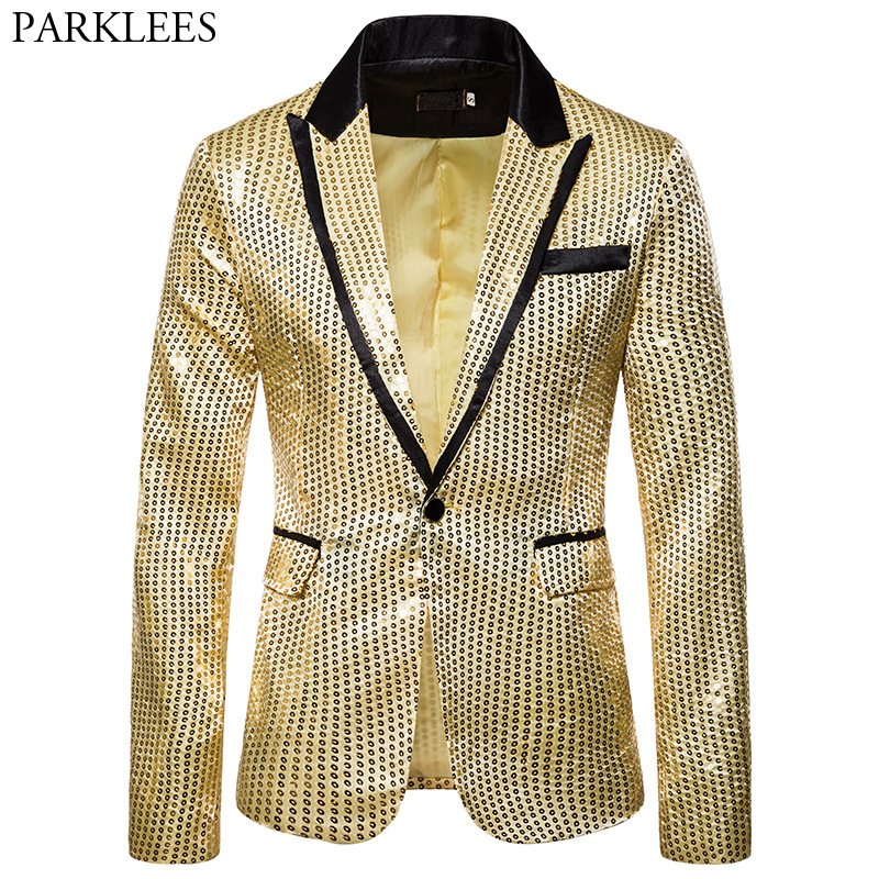 Gold Shiny Sequin Glitter Jacket Men Blazer Nightclub Prom Bling Blazers Mens DJ Stage Clothes For Singers Rock And Roll Costume