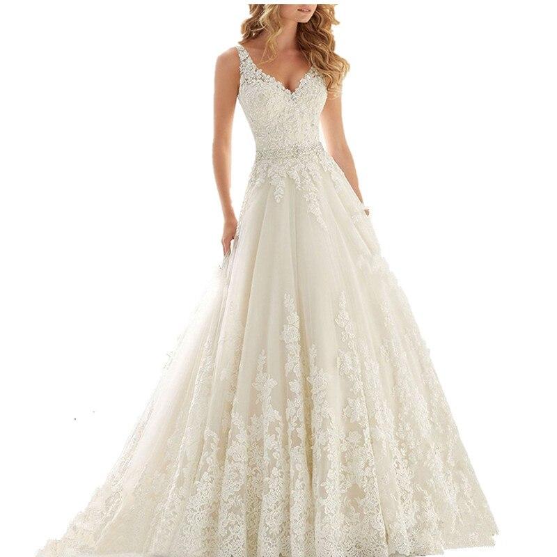 Women's Luxury V Neck A Line Bridal Gown Lace Up Wedding Dresses Vestido De Noiva /свадебное платье/robe De Mariee