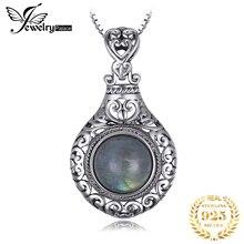 Jдворца сердце натуральный лабрадорит кулон ожерелье 925 драгоценные камни из стерлингового серебра колье заявление ожерелье жен