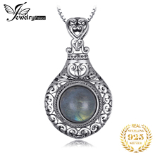 JPalace Heart Natural Labradorite Pendant Necklace 925 Sterling Silver Gemstones Choker Statement Necklace Women Without Chain