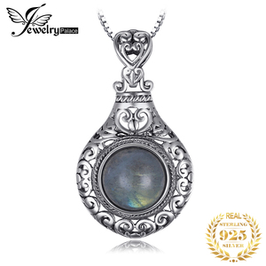 Image 1 - JPalace Heart Natural Labradorite Pendant Necklace 925 Sterling Silver Gemstones Choker Statement Necklace Women Without Chain