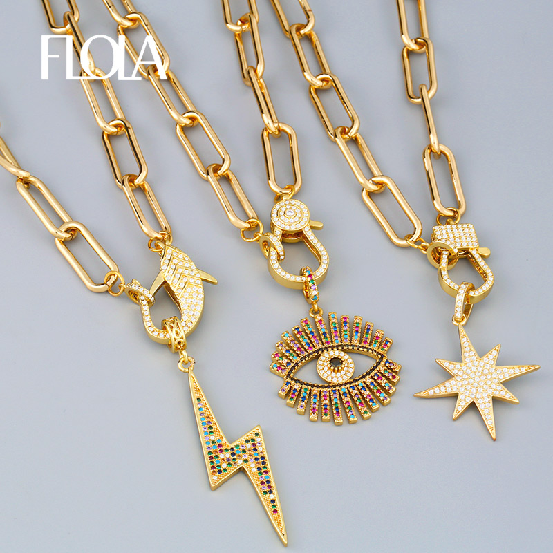 FLOLA Gold Fatima Hand Evil Eye Chain Necklaces For Women Horn Lightning DIY Big Pendant Necklace CZ Fashion Jewelry Gift nkeq81