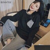 Conjunto de pijama de manga larga para mujer, ropa de dormir de estilo coreano, suave, Top holgado, con cuello redondo, para otoño