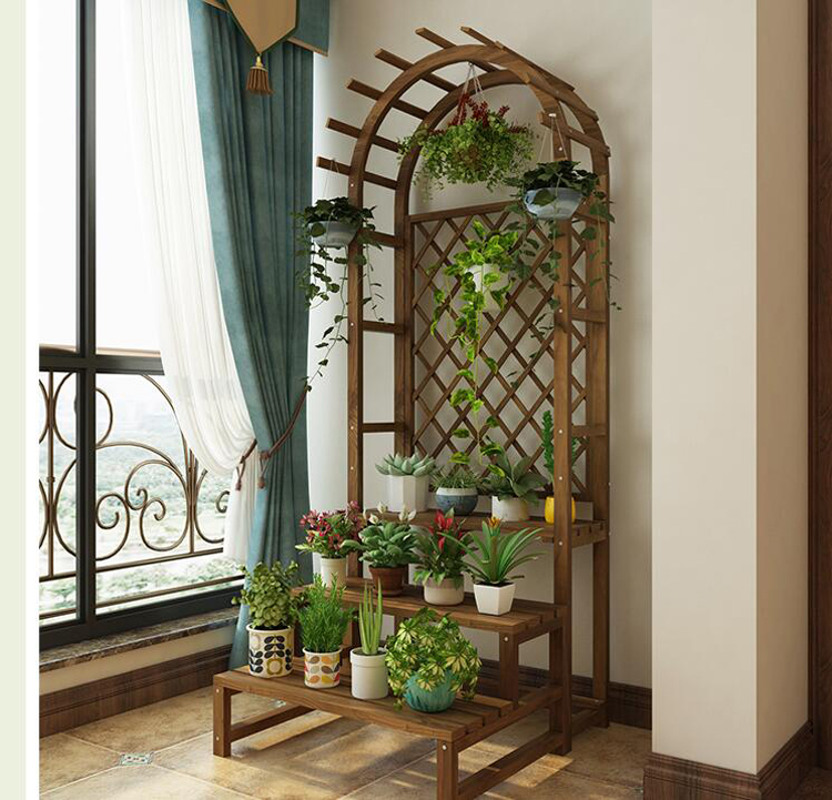 Creative Wooden Balcony Flower Stand Solid Wood Multilayer Floor Flower Shelf Indoor Living Room Flower Pot Stand Plant Rack