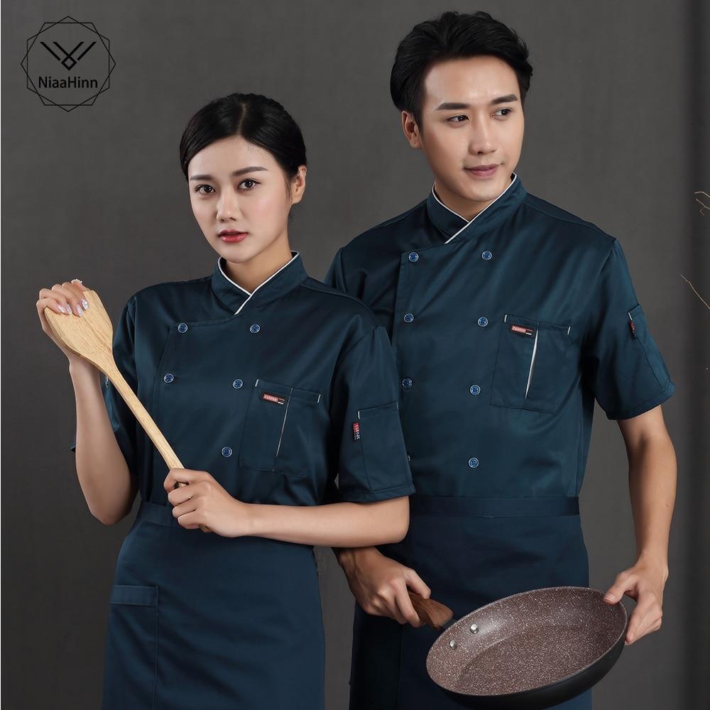 New Summer Short-sleeved Breathable Blue Chef Jacket Restaurant Hotel Cook Suit Man Woman Work Wear Food Service Uniform Coat