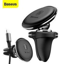Baseus suporte magnético de telefone para carro, porta enrolador de cabo de ventilação de ar com ímã para iphone xs max samsung suporte do telefone