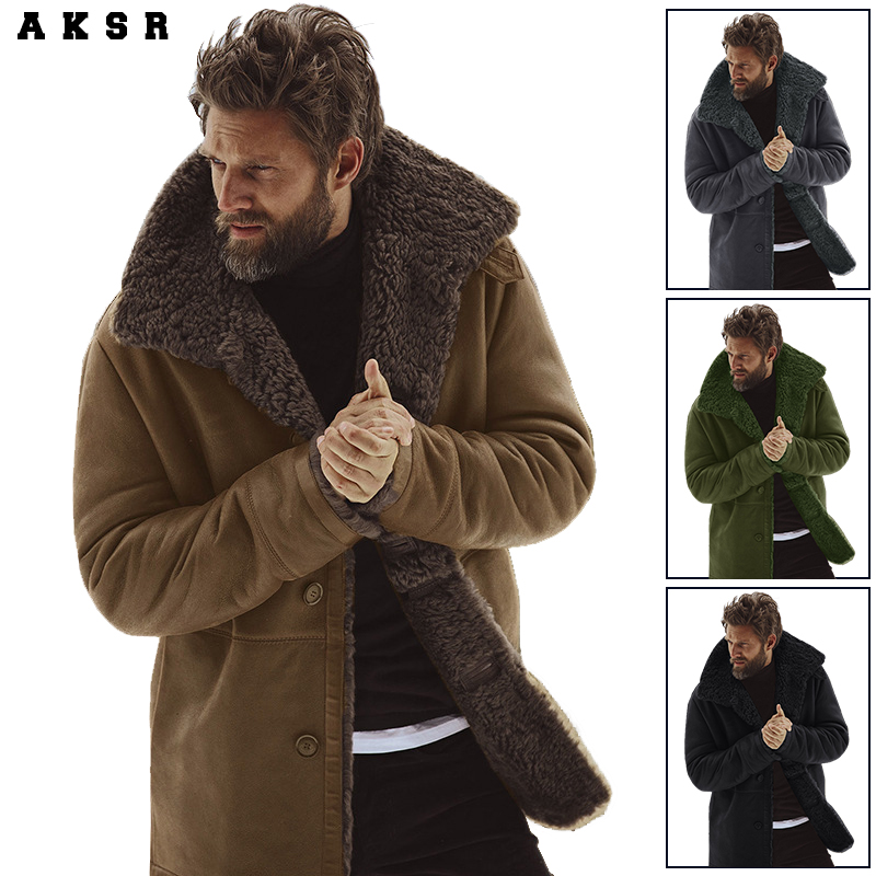AKSR Men's Coat Cashmere-Jacket Winter Padded Practical Warm And Resist-The-Cold