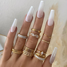 Handmade Eternity Promise Gold Crystal Ring AAA CZ Zirconia Engagement Wedding Band Rings for Women Men Finger Party Jewelry