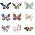 Модные Красочные Броши в форме бабочки, металлическая брошь в виде выреза Стразы с кристаллами, брошь для банкета, свадебного букета, подарк...