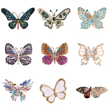 Fashion Colorful Butterfly Brooches Metal Crystal Rhinestones Cutout Brooch Animal Pins Banquet Wedding Bouquet Brooch Gifts crystal enamel green gecko brooches lizard brooch pins animal corsage chameleon scarf buckle