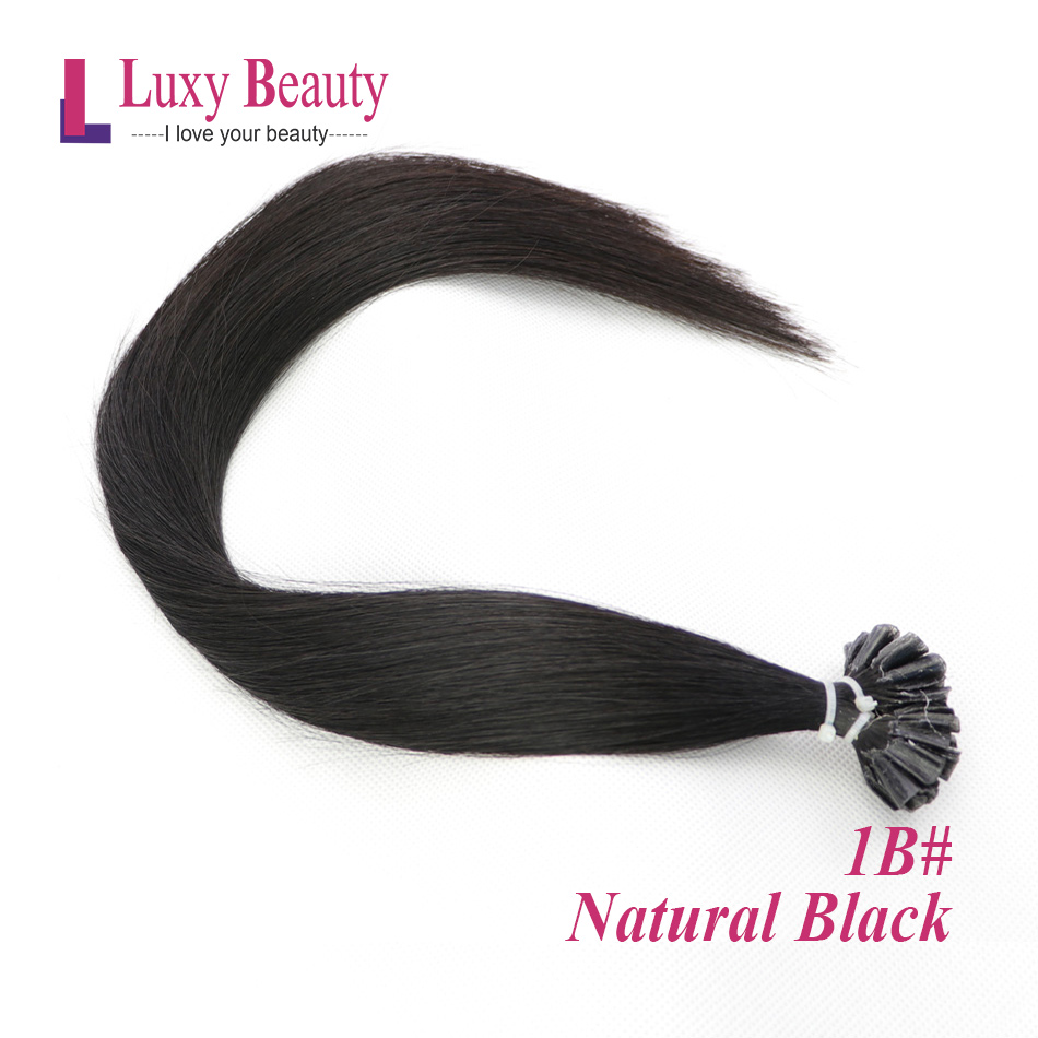 LuxyBeauty Nail Hair Fusion Hair Extensions #1B Natural Black 1g/pc 12